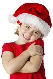 Little girl wear a santa hat Stock Image