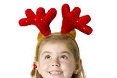 Little girl wear a santa hat Stock Photography