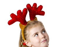 Little girl wear a santa hat Royalty Free Stock Photography