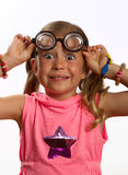 Little girl wearing big round glasses Stock Photo