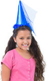 Little girl wearing blue hat for a party Stock Photos