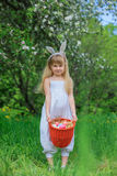 Little Girl Wearing Bunny Ears Stock Images