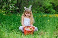 Little girl wearing bunny ears Stock Photo