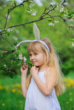 Little girl wearing bunny ears Royalty Free Stock Images