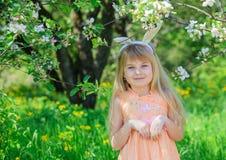 Little girl wearing bunny ears Stock Photography