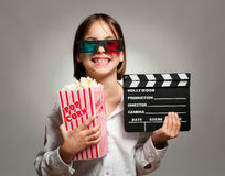 Little girl wearing 3D glasses Royalty Free Stock Photo