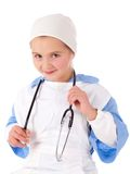 Little girl wearing a doctors uniform Royalty Free Stock Photography