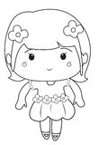 Little girl wearing a dress coloring page. Useful as coloring book for kids Stock Images