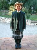 Girl in new school uniform, first day of new school royalty free stock photography