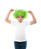 little girl wearing green wig Stock Photos