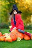 Little girl wearing halloween costume on a pumpkin patch Stock Images