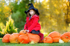 Little girl wearing halloween costume on a pumpkin patch Royalty Free Stock Photography