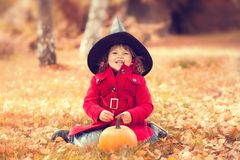 Little girl wearing Halloween witch hat and warm red coat, having fun in autumn day. Royalty Free Stock Image