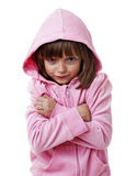 Little girl wearing a pink jacket with hood Stock Photos