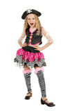 Little girl wearing a pirate carnival costume of Halloween Stock Photos
