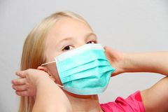 Little girl wearing a protective mask. Photo of the Little girl wearing a protective mask Royalty Free Stock Photography