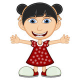 Little girl wearing a red dress cartoon Royalty Free Stock Image