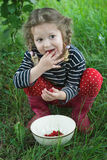 Little girl wearing red gumboots taking ripe raspberries from white bowl to her mouth. Little girl wearing red gumboots is taking ripe raspberries from white Stock Image