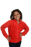 Little girl wearing red sweater Stock Photography