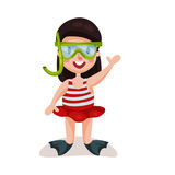 Little girl wearing red swimsuit, diving mask and flippers, kid ready to swim and dive colorful character  Illustration. On a white background Stock Photography