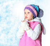 Little girl wearing a scarf, christmas, winter, frost Stock Photo