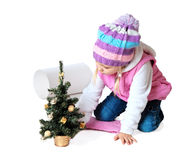 Little girl wearing a scarf, christmas, winter, frost Stock Photos