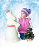Little girl wearing a scarf, christmas, winter, frost Royalty Free Stock Photography