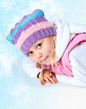 Little girl wearing a scarf, christmas, winter, frost Stock Images