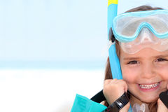 Little girl wearing snorkel Stock Photography