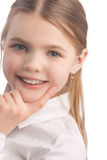 Little girl wearing teeth braces Royalty Free Stock Image