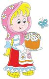 Girl with an Easter cake. Little girl wearing a traditional dress and holding a colorfully decorated holiday pie Stock Images