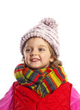 Little girl wearing winter clothes. Three years old little girl wearing winter clothes isolated Stock Image