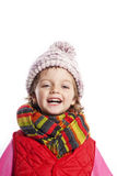 Little girl wearing winter clothes Royalty Free Stock Photos