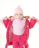 Little girl wearing winter coat Stock Image