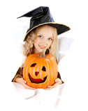 Little girl wearing a witch carnival costume of Halloween Royalty Free Stock Photos