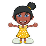 Little girl wearing a yellow dress cartoon Royalty Free Stock Photography