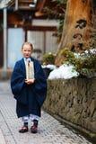 Little girl wearing yukata Stock Photo
