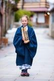 Little girl wearing yukata Stock Images