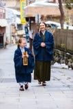 Little girl wearing yukata Royalty Free Stock Photos