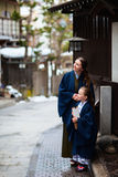 Little girl wearing yukata Stock Photos