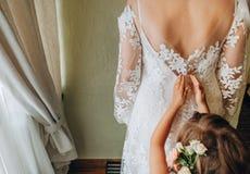 Little girl wedding dress white celebration event stock image