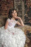 Little girl in wedding dress Royalty Free Stock Image