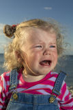 Little girl weeping by the sea. Royalty Free Stock Photo