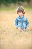 Little girl in a wheat field stock photography