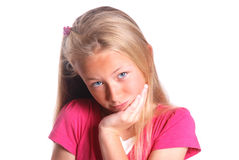 Little girl on white Royalty Free Stock Photos