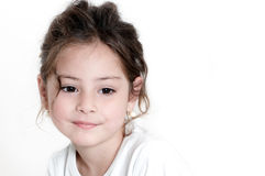 Little girl a on white background Royalty Free Stock Photo