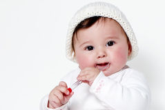 Little girl a on white background Royalty Free Stock Photos
