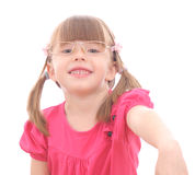 Little Girl on White Background Royalty Free Stock Photos