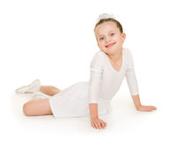 Little girl in white ball gown Stock Image
