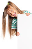 Little girl with white blank. Portrait of happy little girl with white blank isolated on white background Stock Images